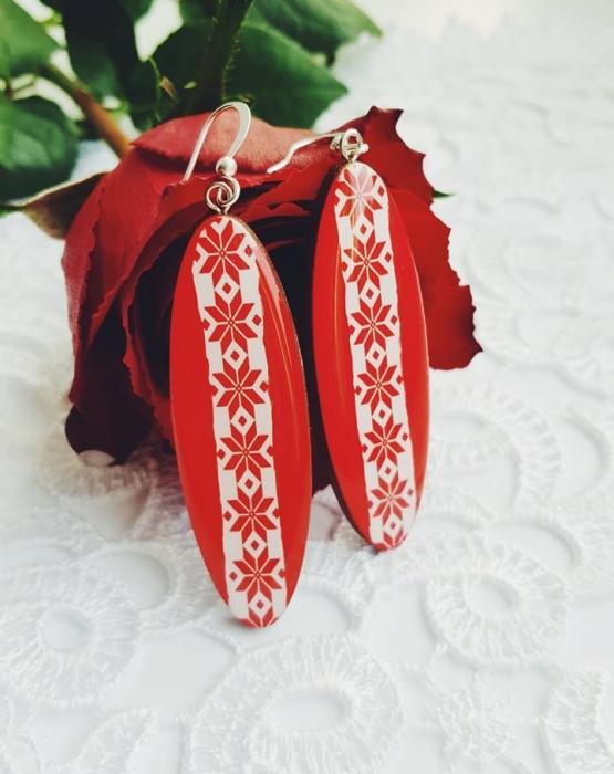 Krāsainie garie auskari - sarkani