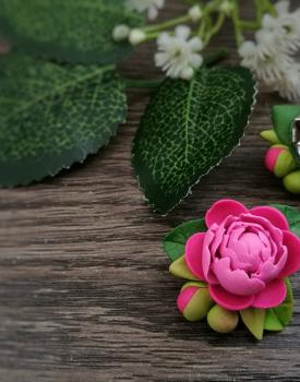 Broša - rozā peonija