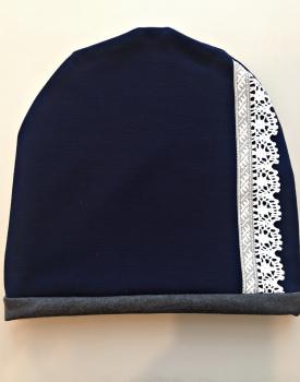 Cepure ar mežģīni - tumši zila