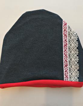Cepure ar mežģīni - tumši pelēka/sarkana