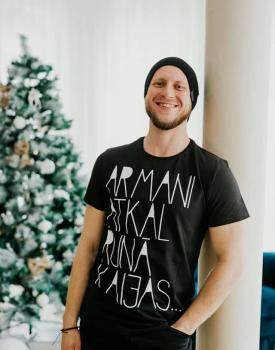 "T-krekls ""Kaija"" melns, unisex"