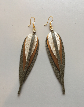 Ādas auskari mazie - zeltaini brūni