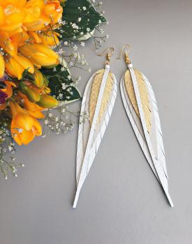 Leather earrings  - golden white