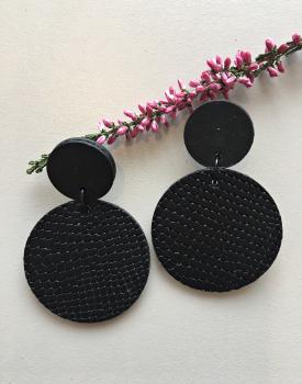 "Leather earrings ""Circles"" black"