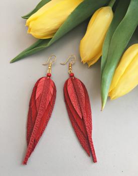 Ādas auskari mazie - sarkani