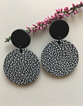 """Leather earrings """"Circles"""" black and white"""