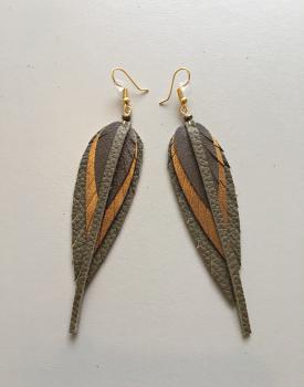 Leather earrings small - earth tone