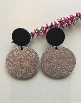 """Leather earrings """"Circles"""" silvery"""