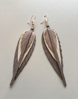 Leather earrings small - grey