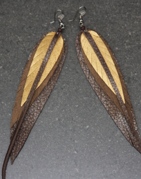 Ādas auskari - brūni ar zeltu
