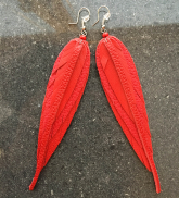 Ādas auskari - sarkani