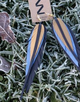 Ādas auskari - zils ar zeltu