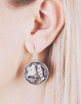 Earrings with clock mechanism - silver color