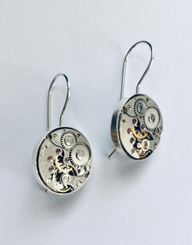 Earrings with clock mechanism - silver color, medium