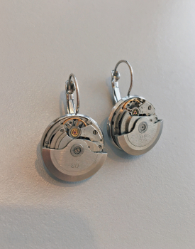 Earrings with clock mechanism - silver color, medium, nr.2