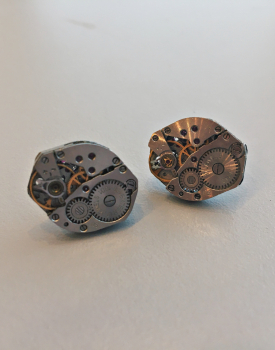 Earrings with clock mechanism - angular, Nr.1