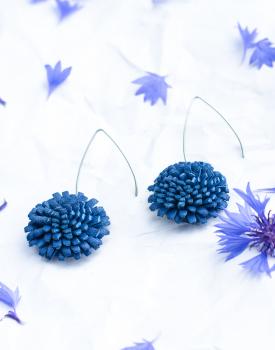 "Leather earrings ""Cornflower"" with hook"