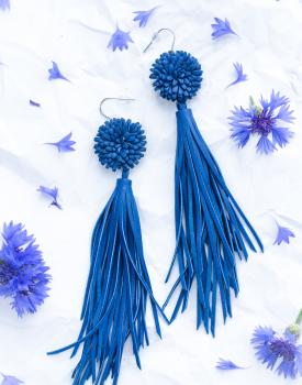 """Leather earrings """"Cornflower"""" with tassels"""