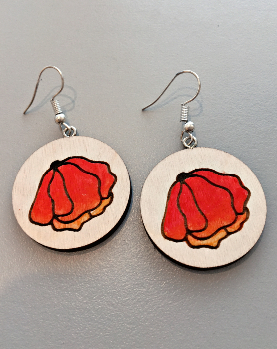 "Wooden earrings ""Red Flower"""