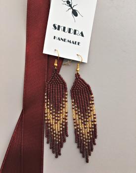 Pearl earrings - burgundy