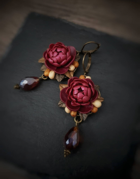 "Earrings ""Peonies"" red with crystal"