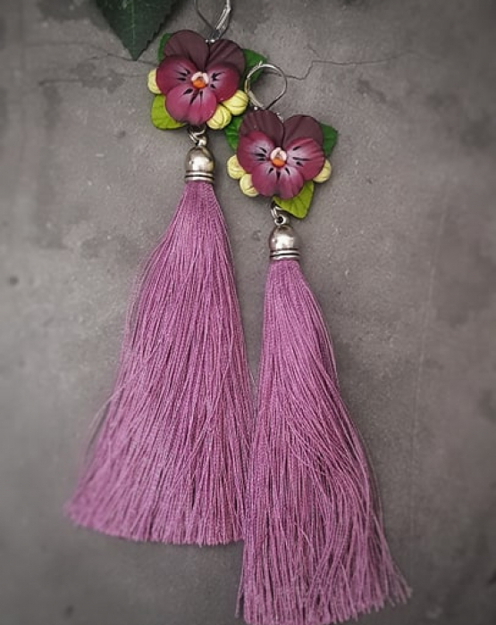 """Skaru auskari """"Atraitnītes"""" violetas"""