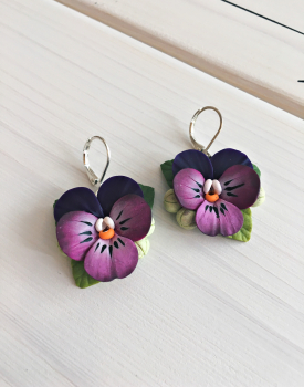 "Earrings ""Pansies"" purple"