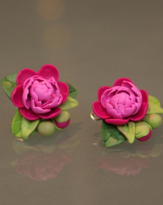 """Polimēra auskari """"Peonija""""  tumši rozā"""