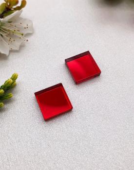 """Spoguļauskari """"Kvadrātiņi"""" sarkani"""