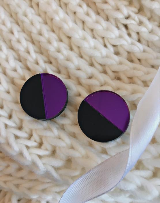 """Mirror earrings """"Moon"""" dark purple"""