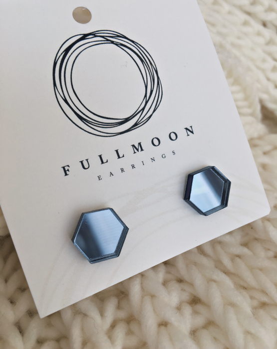 "Mirror earrings ""Hexagon"" bluish gray"