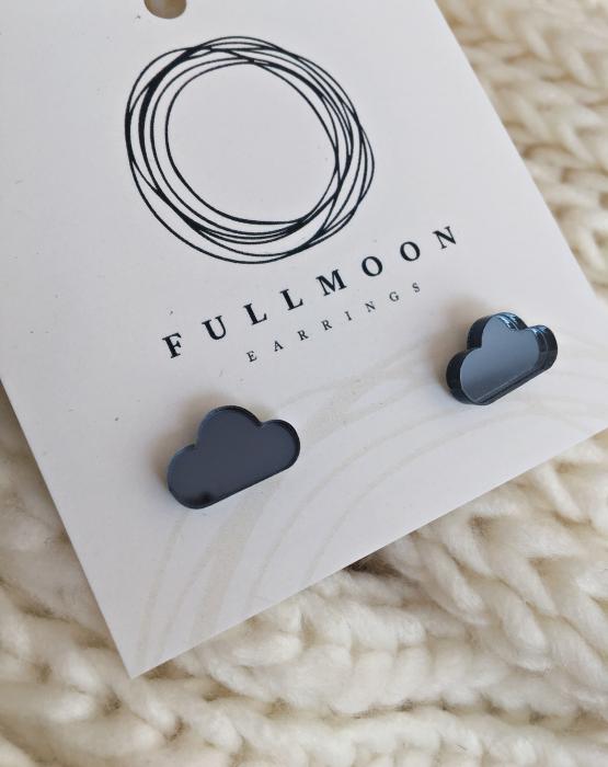 """Mirror earrings """"Cloud"""" bluish gray"""