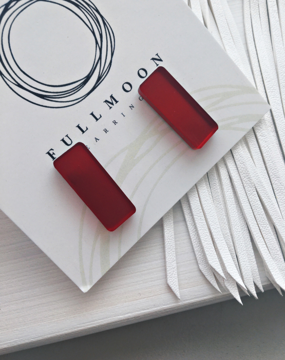 """Mirror earrings """"Rectangle"""" red"""
