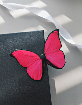 "Brooch ""Pink butterfly"""