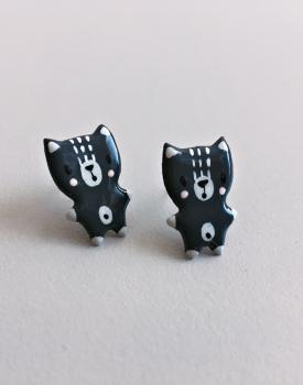 """Porcelāna auskari """"Kaķēns"""" tumši pelēki"""