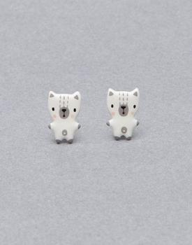 "Porcelāna auskari ""Kaķēns"" balts"