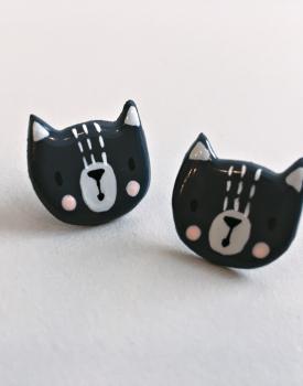 """Porcelāna auskari """"Kaķis"""" tumši pelēks"""