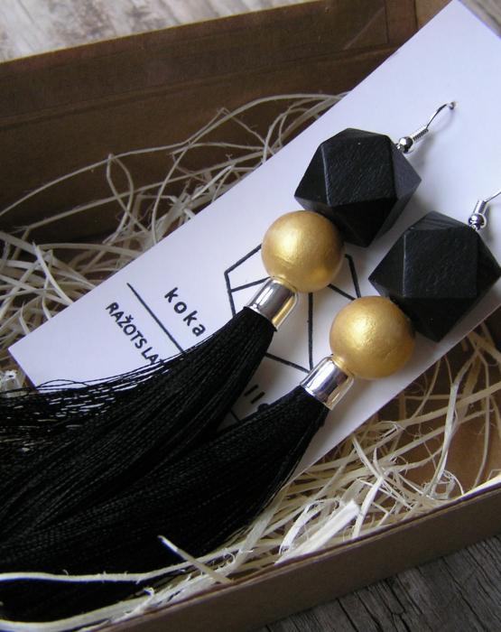 Ģeometriskie auskari ar skarām - melni