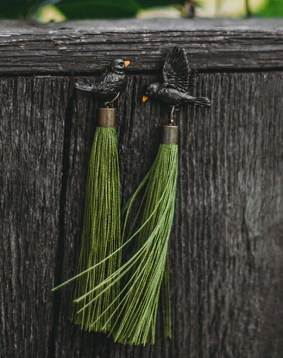 """Earrings """"Black thrush"""" green"""