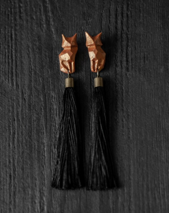 "Earrings ""Red fox"" black"
