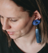 "Earrings ""Blue cornflower"" with tassels"