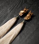 """Earrings """"Red fox"""" beige"""