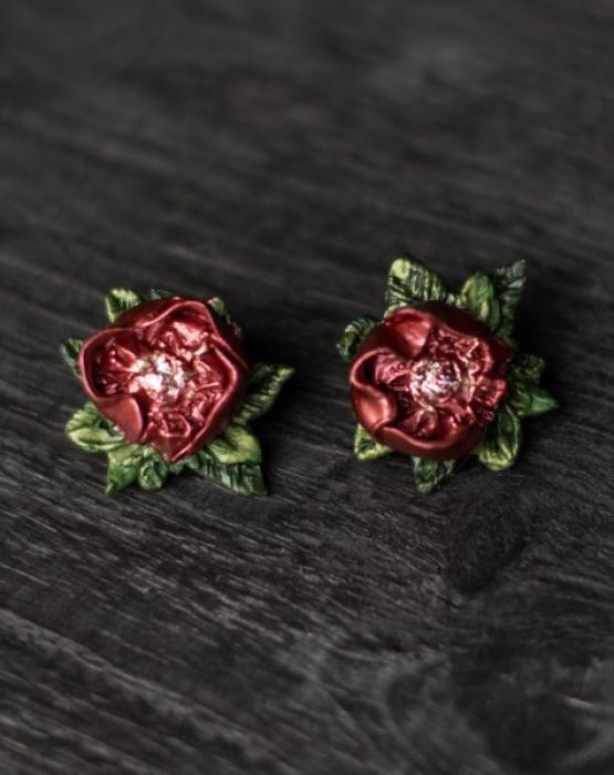 """Earrings """"Dark red peony"""""""