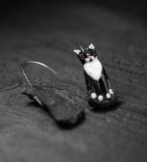 "Āķu auskari ""Melnbaltais kaķis"""