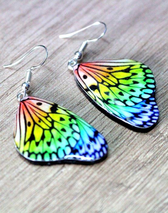 "Auskari ""Taureņu spārni""  - varavīksne"