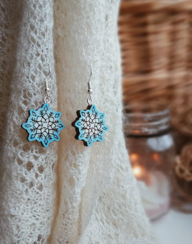 "Wooden earrings ""Snowflake"""