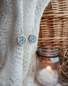 "Wooden earrings ""Snowflake"" Nr.2"