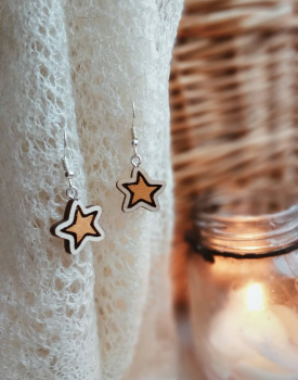 "Wooden earrings ""Stars"""