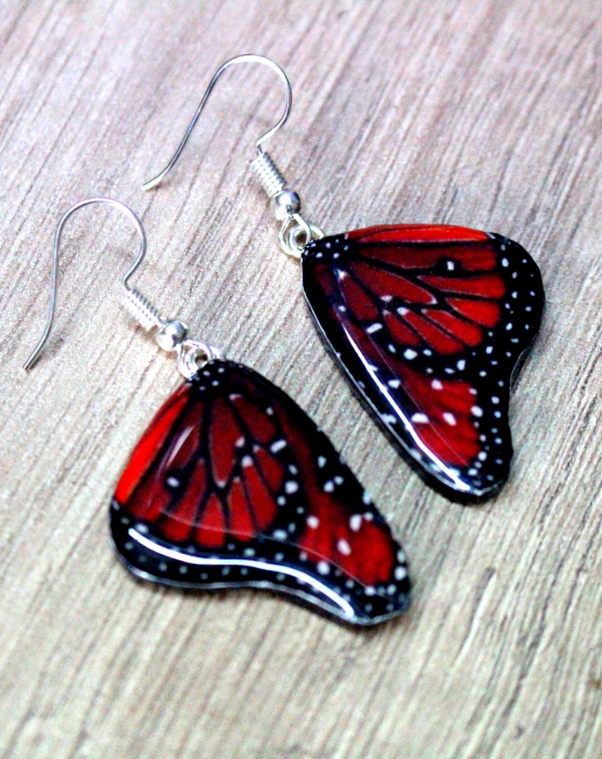 "Earrings ""Butterfly wings"" -  red"