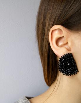 """Earrings """"Wild black"""""""